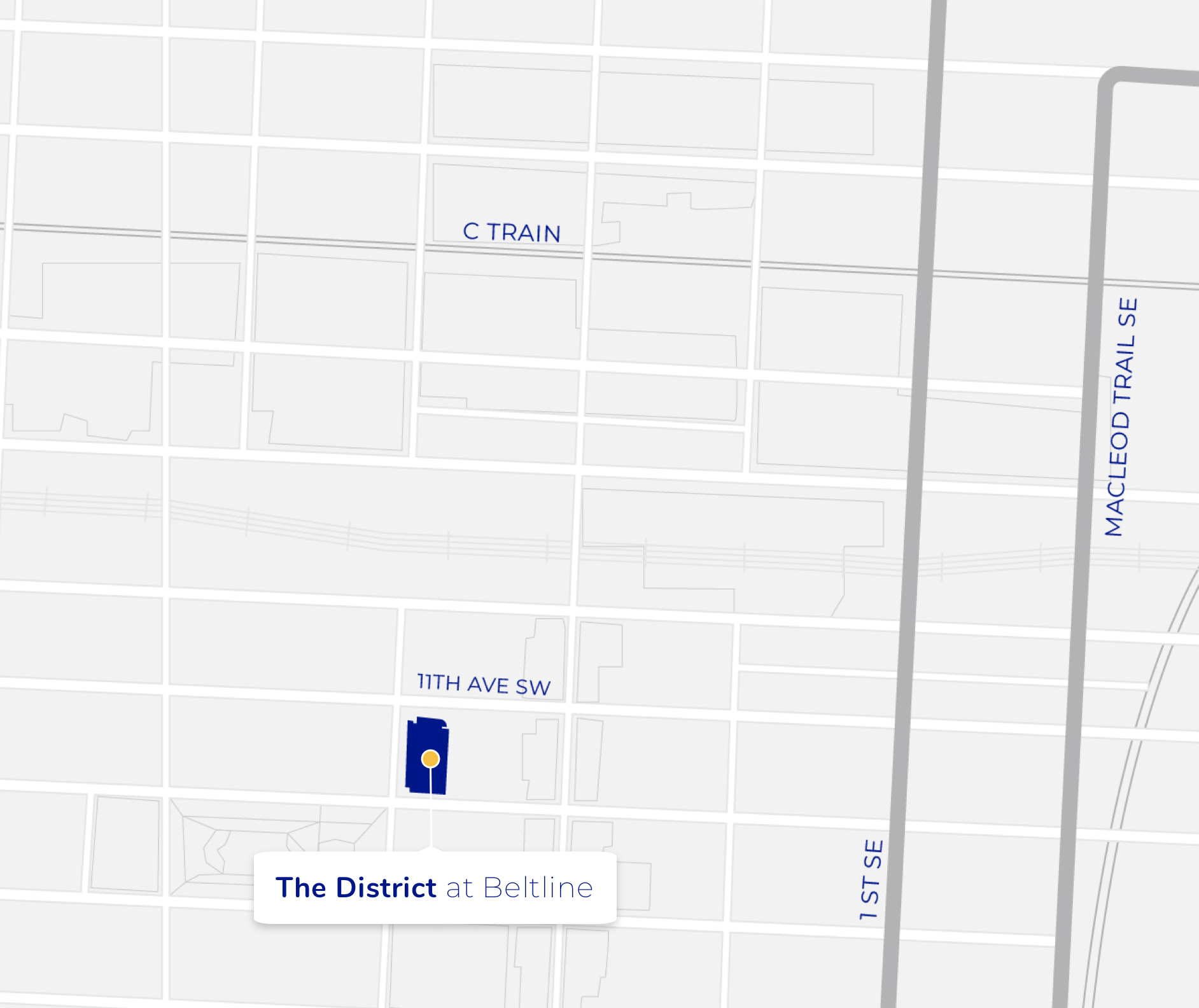 Map with icon depicting the location of The District at Beltline